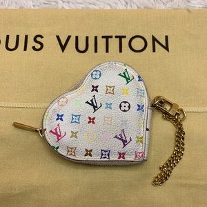 Louis Vuitton White Multicolore Heart Coin Purse
